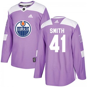 Men's Adidas Edmonton Oilers Mike Smith Purple Fights Cancer Practice Jersey - Authentic